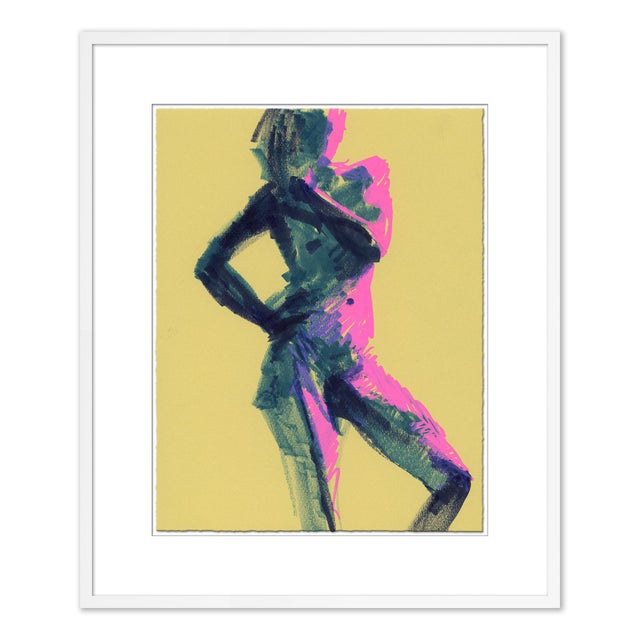 Brown Figures, Set of 6 by David Orrin Smith in White Frame, XS Art Print For Sale - Image 8 of 10
