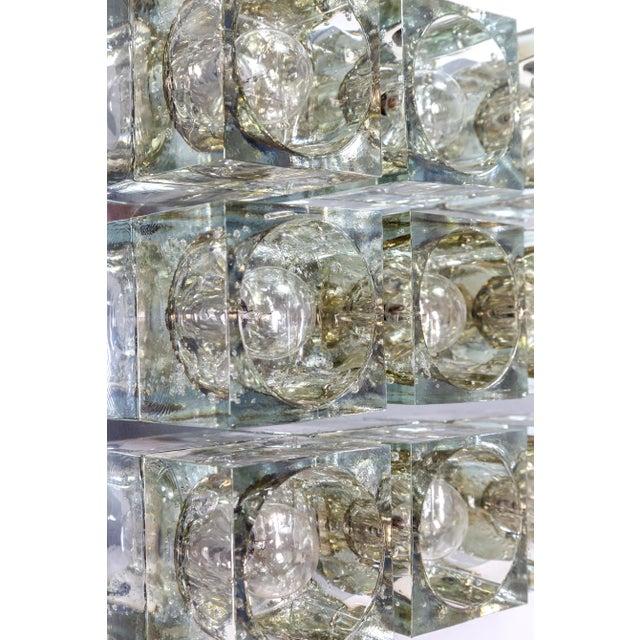 1970s Lightolier Glass Blocks 9-Light Flush Mount For Sale - Image 5 of 13