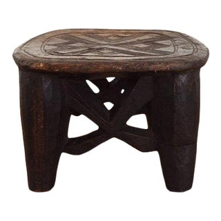Hand Carved Vintage African Nupe Stool For Sale