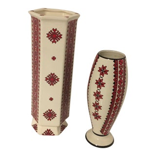 Ukrainian Folk Art Pottery Vases With Needlepoint Pattern - a Pair For Sale