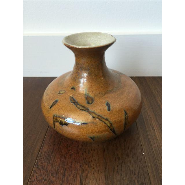 Tree Design Handmade Tan Clay Vase - Image 2 of 7