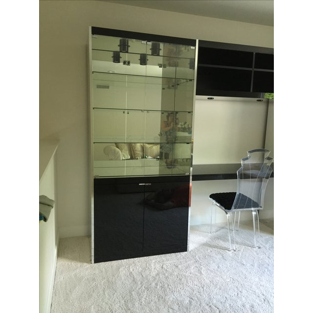 Ello Black Glass Curio Cabinet Desk For Sale - Image 10 of 11