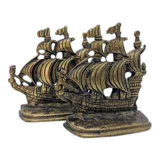 Solid Brass Ship Bookends - Set of 2 For Sale