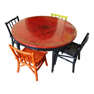 Chinoiserie Lacquered Kids Table & Faux Bamboo Chairs For Sale