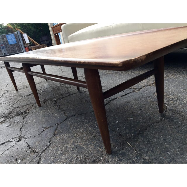 Vintage Bassett Walnut Surfboard Coffee Table For Sale In San Francisco - Image 6 of 8