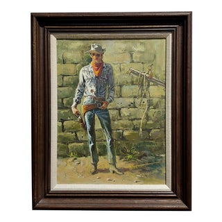 1970s Vintage Harold Hopkinson Renegade Drawing His Gun Western Oil Painting For Sale