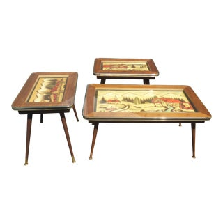Vintage Mid-Century Modern Hand Carved Coffee Table & End Tables - Set of 3 and Hand Painted From Germany For Sale