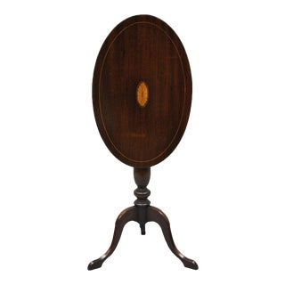 Early 20th Century Antique Mahogany Pinwheel Inlaid Oval Tilt Top End Table For Sale