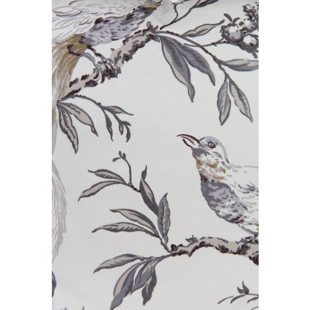 Asian Gray & Ivory Chinoiserie Bird Pillows, a Pair For Sale - Image 3 of 6