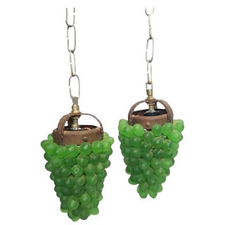 Glass Grape Pendant Lights - a Pair For Sale