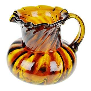 Vintage Hand Blown Art Glass Pitcher