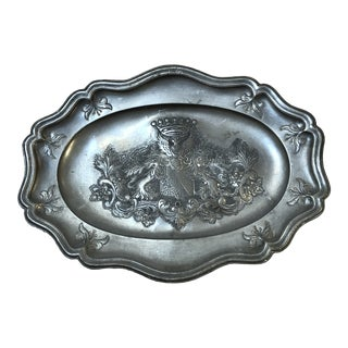 Antique Pewter Platter W/Armorial Crest For Sale