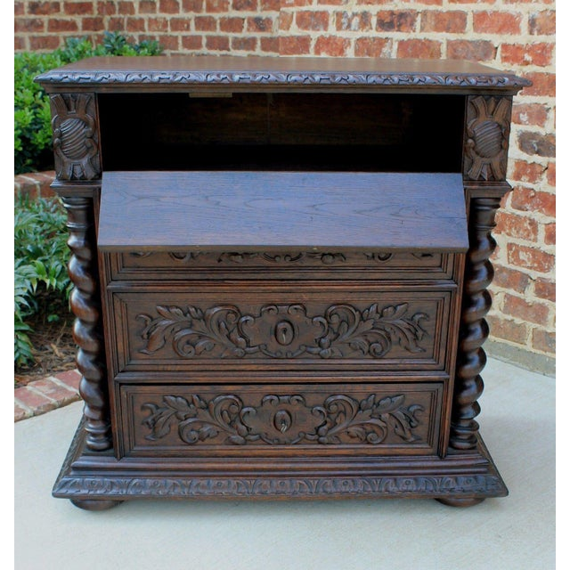 This is only one of multiple exquisite pieces recently purchased from a French castle estate. Wonderful hand-carved oak...
