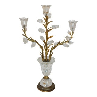 2nd Quarter 20th Century Rock Crystal & Gilt Table Sconce For Sale