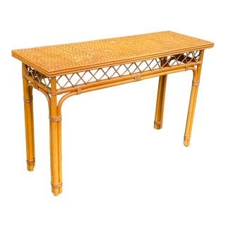 Boho Chic Artesania Rattan Console Table For Sale