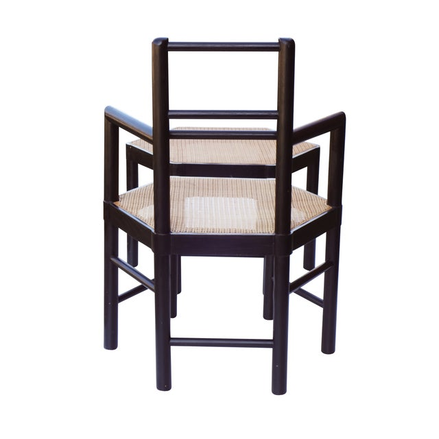 Caning Josef Hoffmann Style Hexagonal Chair & Ottoman Set For Sale - Image 7 of 10