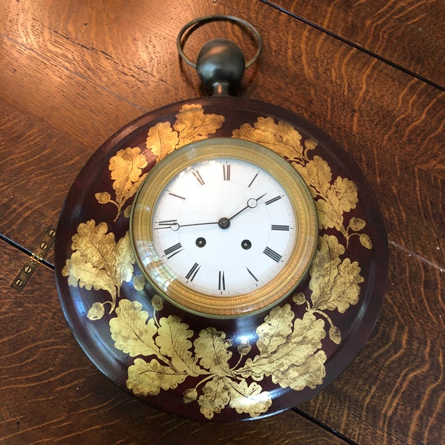 Antique French Tole Clock For Sale - Image 9 of 13