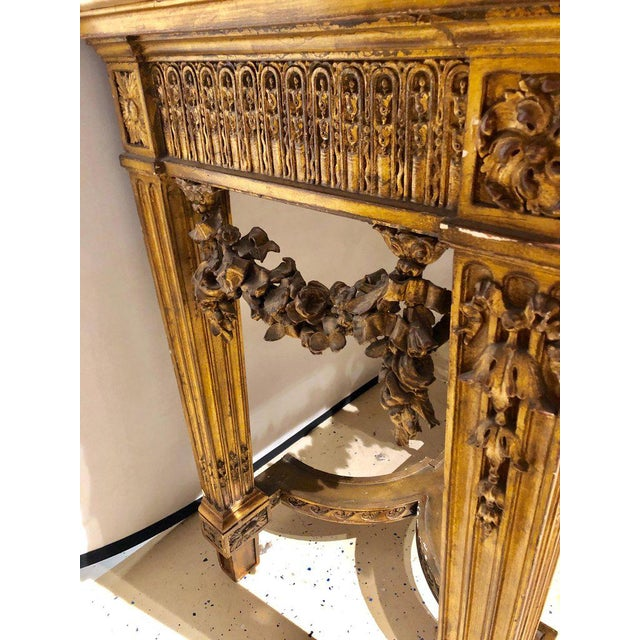 Pink Louis XV Style Giltwood Marble-Top Console, Hall or Center Table For Sale - Image 8 of 13