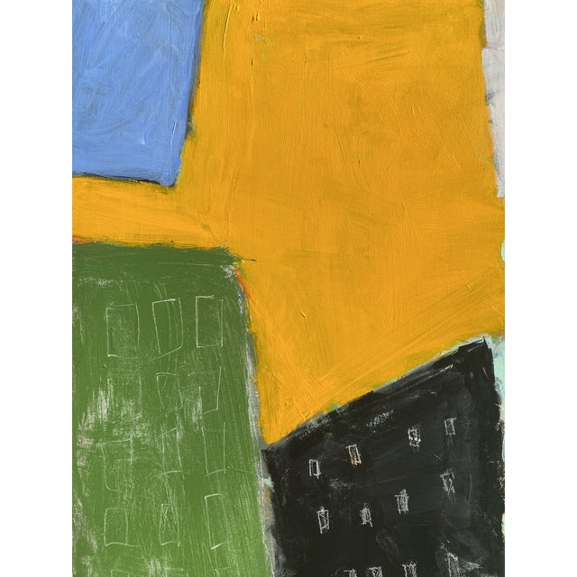 Bold shapes and colors suggest an abstracted urban city-scape. 48 x 60 x 1.5, edges painted grey, back wired, ready to...