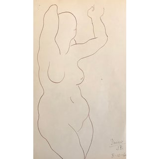 1960s Figurative Drawing of Dancer by James Frederic Bone For Sale