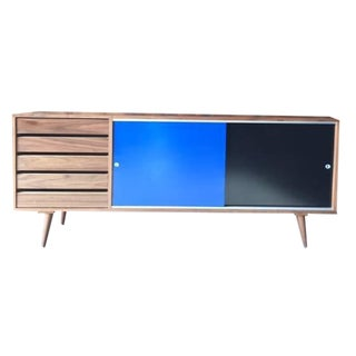 Mid Century Style Custom Blue Black Large Credenza For Sale
