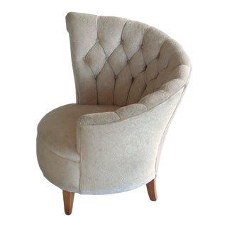 1940s Hollywood Regency Asymmetrical Fan Back Tufted Lounge Chair For Sale
