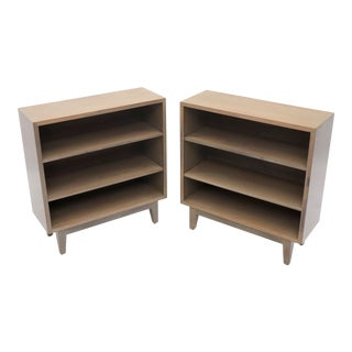 Pair of White Wash Finish Solid Mahogany Bookcases Cabinets For Sale