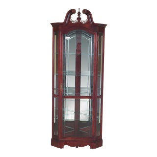 Howard Miller Cherry Lighted Corner Display Cabinet