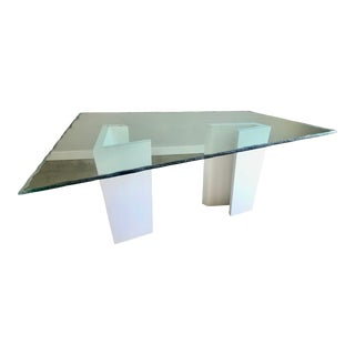 Post Modern Sculpted Glass Top Dining Table For Sale