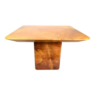 Goatskin Dining Table Style of Karl Springer. For Sale