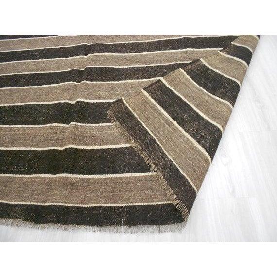 Vintage Turkish Kilim Striped Rug - 6′6″ × 9′11″