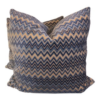 "Kravet ""Barletta"" Sky Velvet 22"" Pillows-A Pair For Sale"