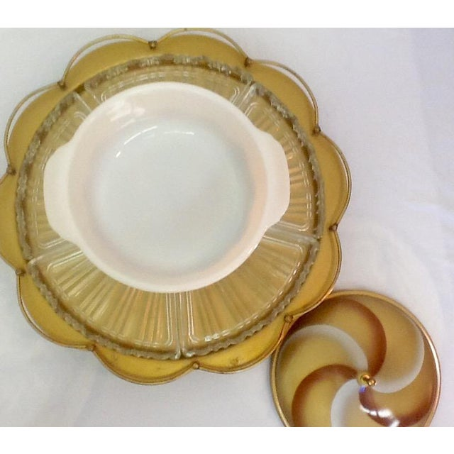 MCM Milkglass & Metal Lazy Susan Serving Set - Image 8 of 8
