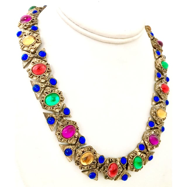 Mid-Century Modern 20th Century Etruscan Style Gold Molded Glass Choker Necklace & Bracelet - a Pair For Sale - Image 3 of 13