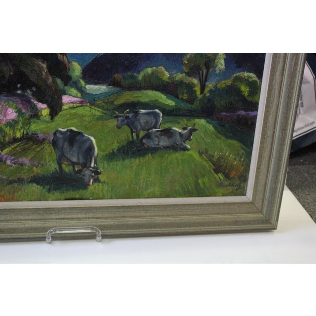 """1960s """"Eventide"""" Cow Oil Painting by Buchholz For Sale - Image 5 of 9"""