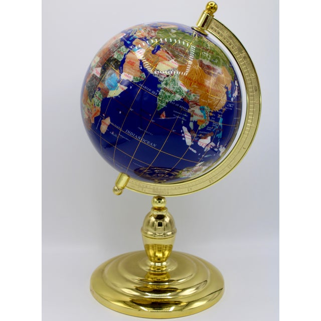 Vintage Blue Lapis World Globe on Brass Stand With Semiprecious Gems For Sale - Image 11 of 13