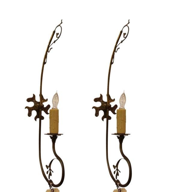 Brass Nouveau Sconces - A Pair For Sale