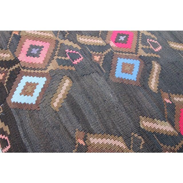 Vintage Turkish Tribal Kilim Rug Floor Pillow & Dog Bed 36'' x 36 - Image 4 of 7