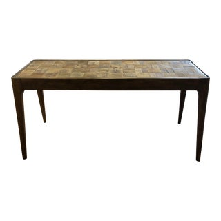 Colins Wood Parquet Top Console Table For Sale