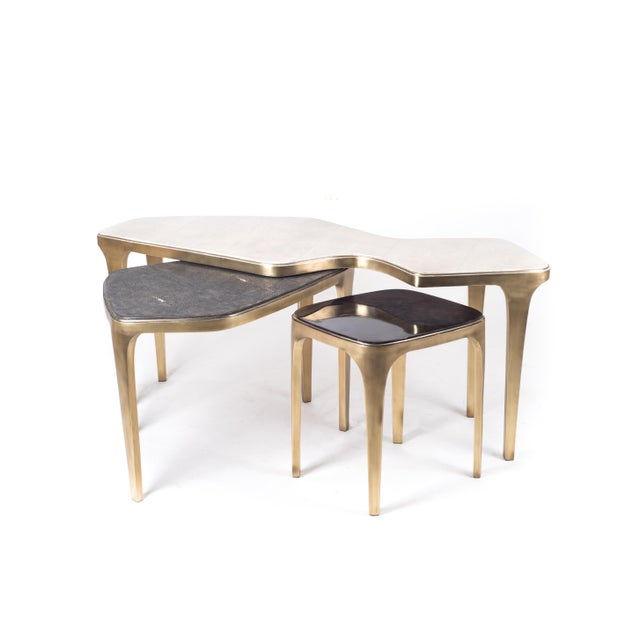 R & Y Augousti Cosmos Nesting Coffee Table Black Shagreen & Bronze-Patina Brass by R&y Augousti For Sale - Image 4 of 7