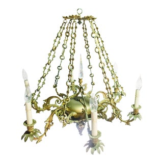 20th Century Gilt Metal With Crystal Obelisk Chandelier