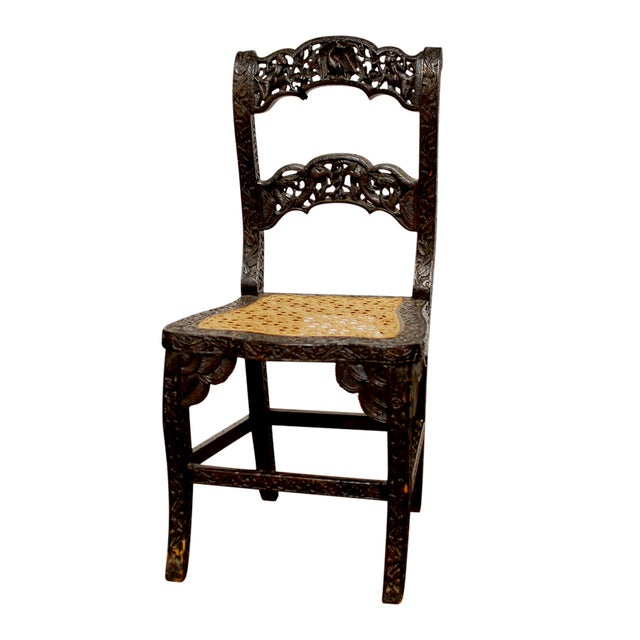 Anglo Indian Carved Rosewood Desk Chair - Image 1 of 7