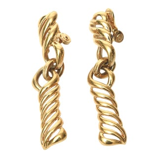 Vintage Monet Gold Plated Link Dangle Earrings For Sale