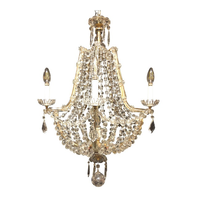 1920's French Antique Louis XVI Style Signed Baccarat Chandelier For Sale