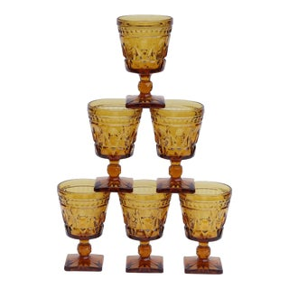 Amber Glasses or Dessert Dishes - Set of 6