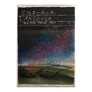 Original 1987 Polish Music Poster, Warsaw Symphony With Yehudi Menuhin For Sale