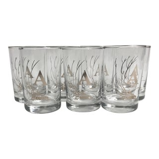 "Mid Century Modern Small Platinum Monogramed ""A"" Cocktail Glasses - Set of 7 For Sale"