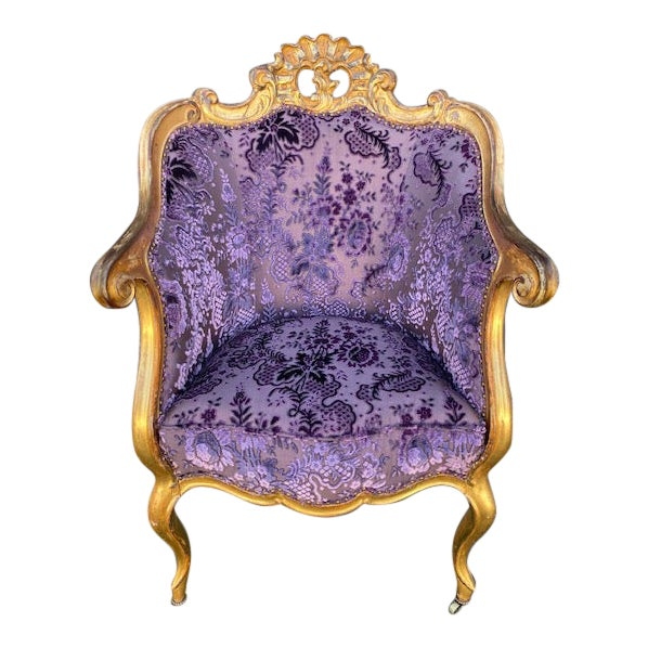 Late 19th Century Vintage Italian Giltwood Chair For Sale