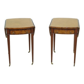 Pair Burl Walnut 1 Drawer Drop Leaf Pembroke Tables For Sale