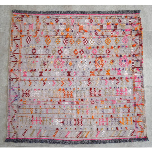 """Hot Pink Antique Anatolian Braided Rug Hand Woven Cotton Small Rug Sofreh - 3'7"""" X 3'10"""" For Sale - Image 8 of 8"""